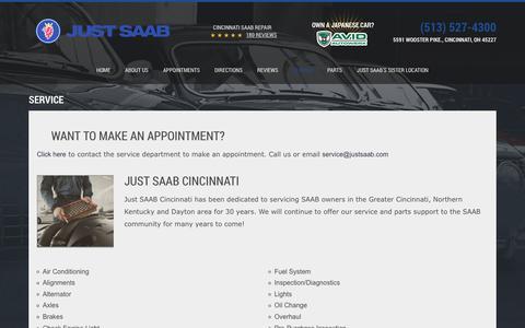 Screenshot of Services Page justsaab.com - Cincinnati Saab Service | Just Saab - captured Sept. 20, 2018
