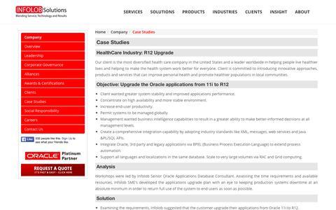 Screenshot of Case Studies Page infolob.com - Oracle Platinum Partner. Remote DBA, Hosting, BI, eBusiness & Retail Specialists.On Premise & Cloud Reseller. | INFOLOB - captured Dec. 22, 2015