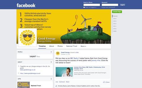 Screenshot of Facebook Page facebook.com - Good Energy - Chippenham, United Kingdom - Energy/Utility | Facebook - captured Oct. 27, 2014