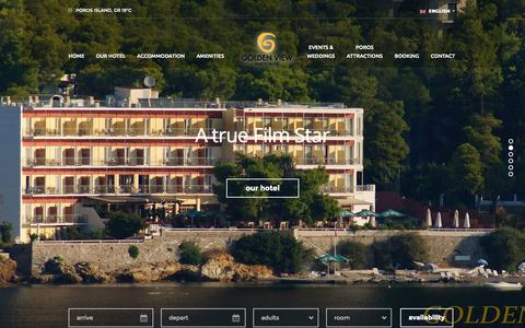 Screenshot of Home Page goldenview.gr - Golden View Hotel | Askeli, Poros Island, Greece - captured Oct. 3, 2014
