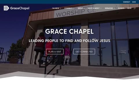 Screenshot of Home Page gracechapel.org - Grace Chapel - Church in Englewood, Colorado - captured Nov. 5, 2018