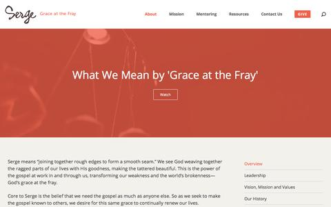 Screenshot of About Page serge.org - About - Serge :: Grace at the Fray - captured Sept. 20, 2018