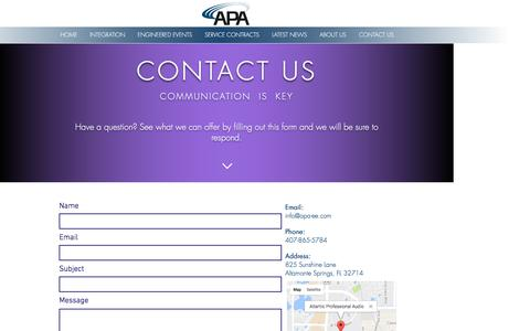 Screenshot of Contact Page apa-ee.com - Atlantic Professional Audio | CONTACT US - captured Nov. 21, 2016