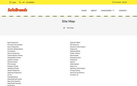 Screenshot of Site Map Page safebrands.net - Site Map - captured Sept. 28, 2017