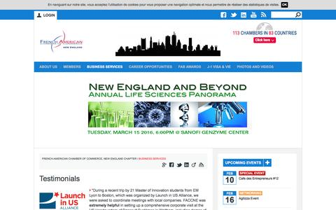 Screenshot of Testimonials Page faccne.org - Testimonials | French-American Chamber of Commerce, New England Chapter - captured Feb. 9, 2016