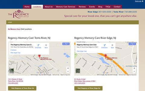 Screenshot of Locations Page regencymemorycare.com - NJ Memory Care Club Locations - captured Feb. 24, 2016