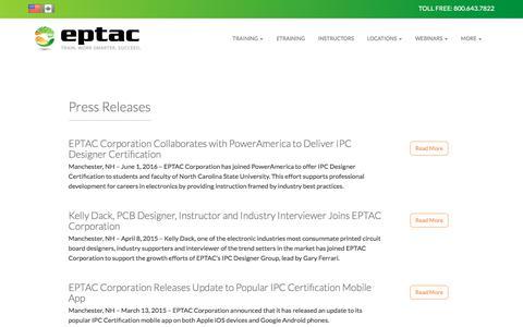 Screenshot of Press Page eptac.com - News | EPTAC - captured Nov. 28, 2017