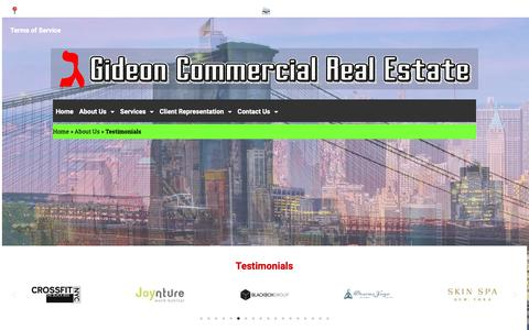 Screenshot of Testimonials Page gideonnyc.com - Testimonials - Gideon Commercial Real Estate - captured Nov. 10, 2018