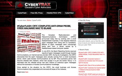 Screenshot of Blog cybertrax.ca - Canadian Cyber Security News | CyberTRAX Canada - captured Oct. 9, 2014