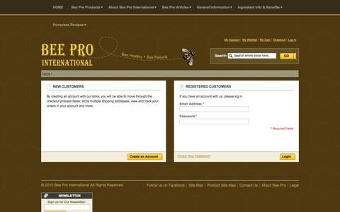 Screenshot of Login Page bee-pro.ca - Bee Pro International - captured Oct. 1, 2014