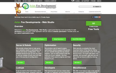 Screenshot of Developers Page asianfoxdevelopments.com - Web Studio - Free Tools For Your Website - Developers | Asian Fox Developments - captured Dec. 26, 2015