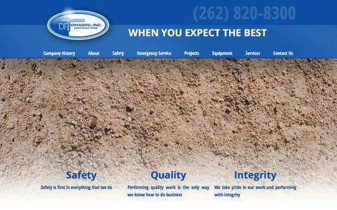 Screenshot of Home Page dftomasini.com - D. F. Tomasini - Sewer & Water Main Contractors - Sussex, WI - captured Feb. 8, 2016