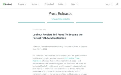Screenshot of Press Page lookout.com - Lookout Predicts Toll Fraud To Become the Fastest Path to Monetization - captured May 23, 2017