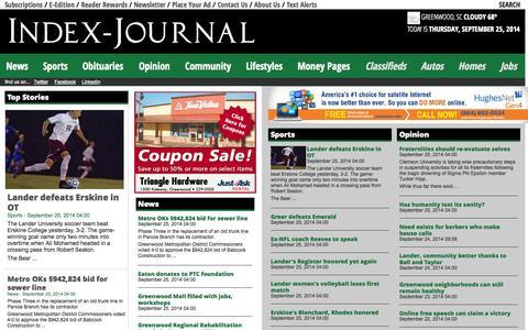 Screenshot of Home Page indexjournal.com - Index-Journal - captured Sept. 23, 2014