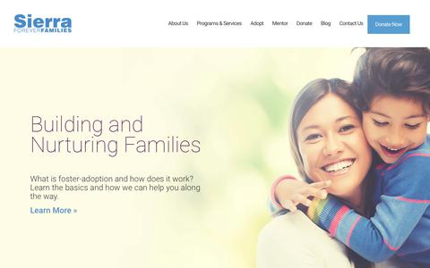 Screenshot of Home Page sierraff.org - Home - Sierra Forever Families - captured Oct. 18, 2018