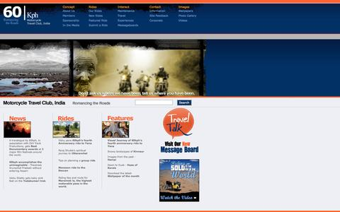Screenshot of Home Page 60kph.com - 60kph - Motorcycle Travel Club, India - captured Sept. 22, 2014