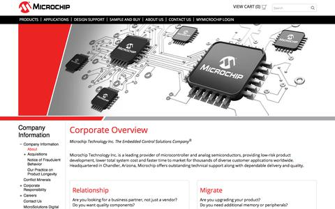Screenshot of About Page microchip.com - About | Microchip Technology - captured April 9, 2018