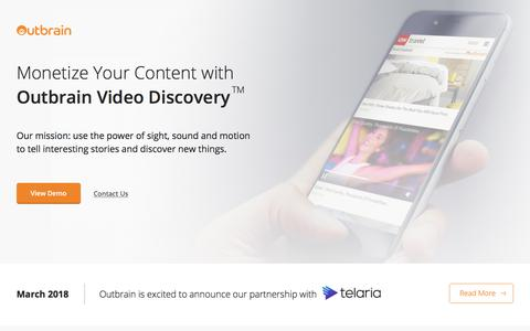 Screenshot of Landing Page outbrain.com - Video Discovery - Outbrain - captured Sept. 18, 2018