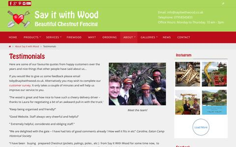 Screenshot of Testimonials Page sayitwithwood.co.uk - Testimonials - Say it with Wood - captured May 26, 2017