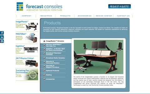 Screenshot of Products Page forecast-consoles.com - Forecast Consoles - Technical Furniture & Consoles for Broadcast, Production, Security, & Dispatch - captured Feb. 10, 2016