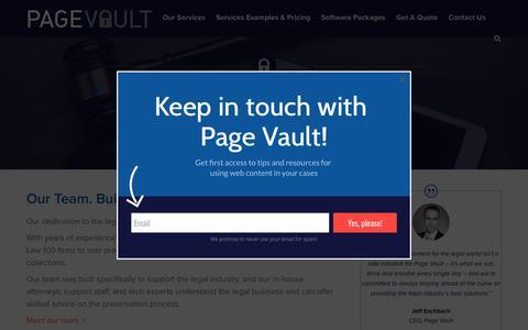Screenshot of Team Page page-vault.com - Built for Legal Professionals   Page Vault - captured July 14, 2018