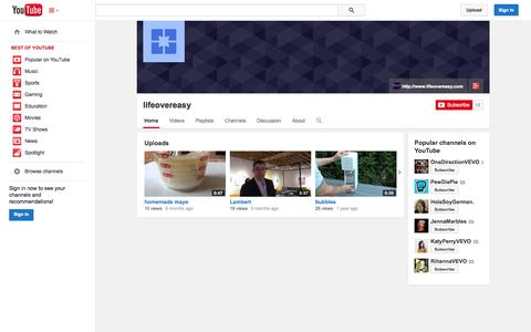 Screenshot of YouTube Page youtube.com - lifeovereasy  - YouTube - captured Nov. 2, 2014