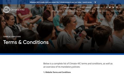 Screenshot of Terms Page climate-kic.org - Terms & Conditions - Climate-KIC - captured July 19, 2018