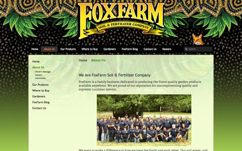 Screenshot of About Page foxfarmfertilizer.com - About Us - captured Oct. 6, 2014
