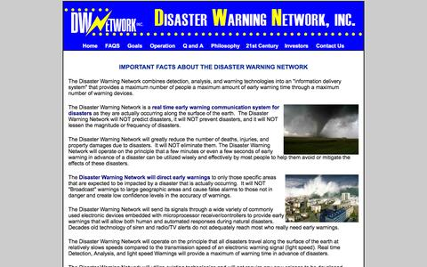 Screenshot of FAQ Page disasterwarning.com - FAQS and facts about Disaster Early Warnings for hazards and alerts - captured Feb. 9, 2016