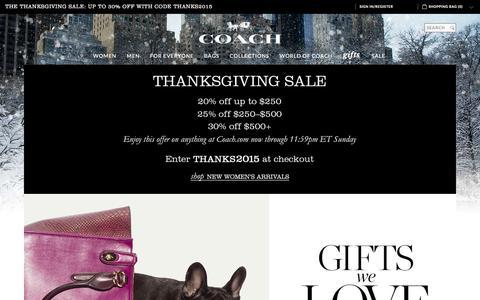 Screenshot of Home Page coach.com - COACH Official Site | Shop This Holiday Season At COACH - captured Nov. 25, 2015