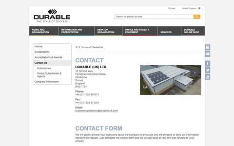 Screenshot of Contact Page durable-uk.com - Contact Us - DURABLE - captured Oct. 7, 2018