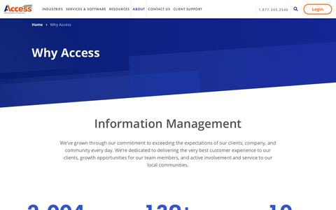 Screenshot of About Page accesscorp.com - Why Access - Access - captured July 18, 2019