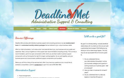 Screenshot of Services Page deadlinemet.com - Administrative Consulting Services - Administrative and business support - captured Nov. 3, 2014