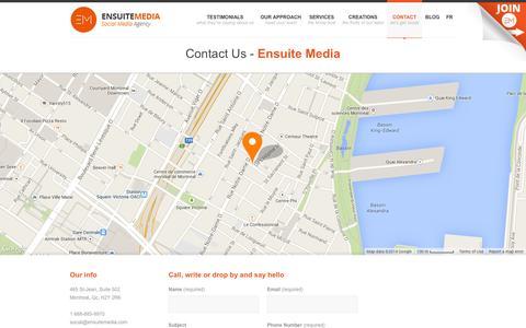 Screenshot of Contact Page ensuitemedia.com - Contact - Ensuite Media - captured Sept. 23, 2014
