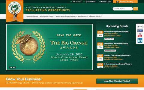 Screenshot of Home Page wochamber.com - West Orange Chamber of Commerce | Facilitating Opportunity - captured Feb. 14, 2016
