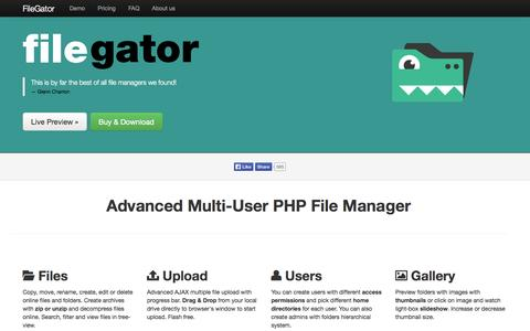 Screenshot of Home Page file-gator.com - FileGator | Advanced PHP File Manager - captured Sept. 19, 2014