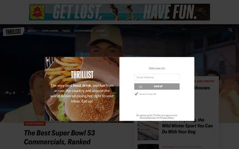 Screenshot of Home Page thrillist.com - Thrillist - Find the Best and Most Under-Appreciated Places to Eat, Drink and Travel - captured Feb. 5, 2019