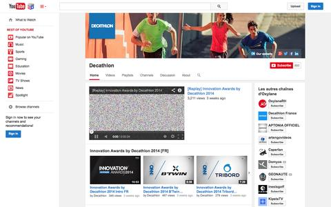 Screenshot of YouTube Page youtube.com - Decathlon  - YouTube - captured Nov. 5, 2014
