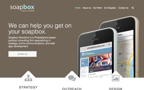 Screenshot of Home Page soapboxsolutions.com - Home - captured Sept. 3, 2015