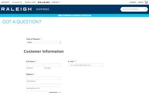 Screenshot of Contact Page raleighusa.com - Got a Question?   Raleigh Bikes - captured Feb. 24, 2020