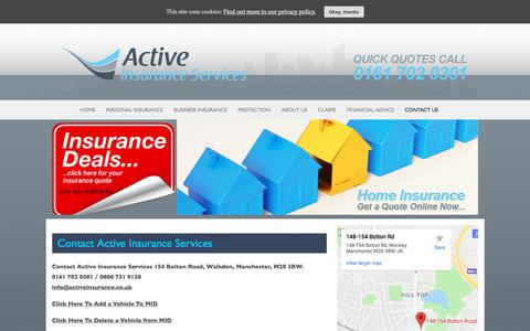 Screenshot of Contact Page activeinsurance.co.uk - Contact Active Insurance Services - Active Insurance Services - captured Sept. 24, 2018