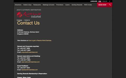 Screenshot of Contact Page rwsentosa.com - Resorts Singapore | Contact Us | Resorts World Sentosa - captured Sept. 19, 2014