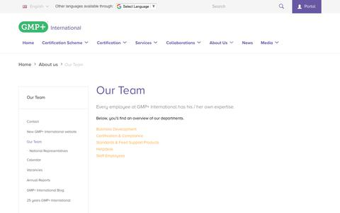 Screenshot of Team Page gmpplus.org - Our Team | GMP+ International - captured Nov. 9, 2018