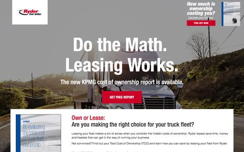 Screenshot of Landing Page ryder.com - Do the Math. Leasing Works. - captured Sept. 2, 2016