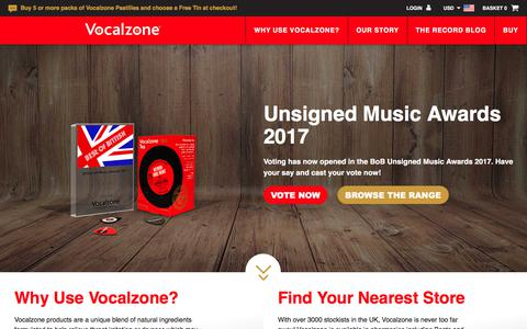 Screenshot of Home Page vocalzone.com - For voice care & throat relief, vocal tips & exercises - Vocalzone - captured Oct. 17, 2017