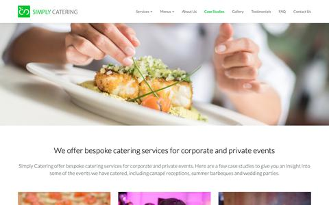Screenshot of Case Studies Page simplycatering.co.uk - We offer bespoke catering services for corporate and private events | Case Studies | Simply Catering London - captured Oct. 20, 2018