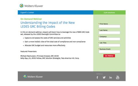 Screenshot of Landing Page datacert.com - Webinar: Understanding the Impact of the New LEDES GRC Billing Codes - captured Aug. 17, 2016