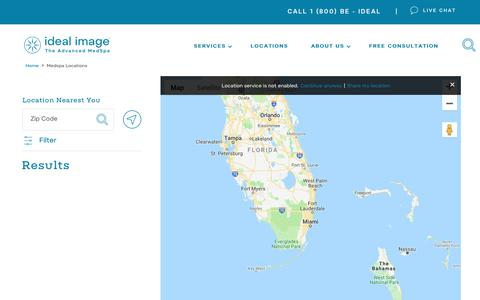 Screenshot of Locations Page idealimage.com - Laser Hair Removal & Medical Spa Locations | Ideal Image - captured Nov. 6, 2018