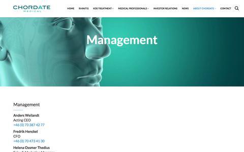 Screenshot of Team Page chordate.com - Management | Chordate Medical - captured July 29, 2017