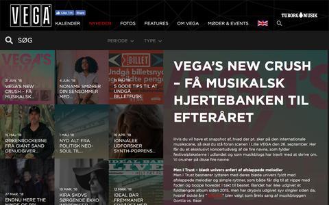Screenshot of Press Page vega.dk - VEGA's New Crush – Få musikalsk hjertebanken til efteråret  - VEGA   Musikkens hus - captured June 24, 2018